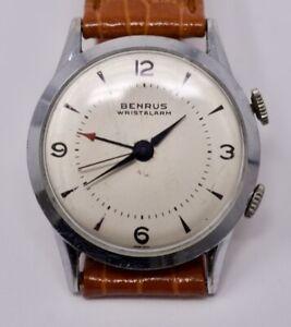 Vintage 1960s Mens Benrus Wrist Alarm Wristwatch