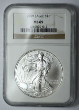 2009 NGC MS 69 American Silver Eagle Dollar 1 Oz Fine Silver , Graded l!