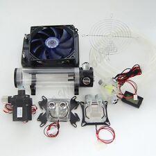 Water Cooling Kit 120 Radiator CPU GPU Block Pump Reservoir Tubing Blue LED
