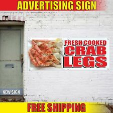 FRESH COOKED CRAB LEGS Advertising Banner Vinyl Mesh Decal Sign local seafood