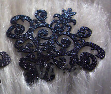 5 Glitter Black Iron On Patch Applique Dokoh Lace Motif Heat Transfer Embellish