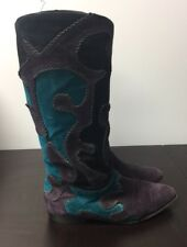 BALDININI Suede Leather Mid-Calf Boots Women Size 36 1/2  US 6.5 Made in ITALY