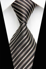 GL0602 Black White Stripe Man Classic JACQUARD Woven Necktie Tie Casual Fashion
