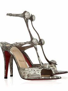 authentic christian louboutin Spartenvol 100 Lizard strap heels 41