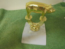 Vintage Heavy Gold Tone Pig Topper with Marble Base