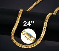 """18k Yellow Gold 24"""" Men's Italian Curb Link Chain Necklace wGiftPg D680A"""