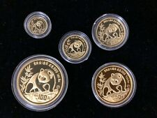 1990 China 1.90 oz Gold Panda 5-Coin Proof Set. Original box and certificate