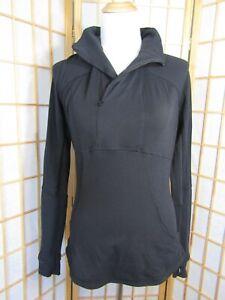 Lululemon Polyester Blend Black Long Sleeve Active 1/2 Zip Pullover Women 10