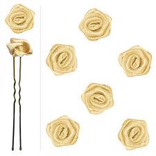 6 épingles pics cheveux chignon mariage mariée danse fleur satin jaune champagne
