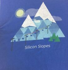 Google Fiber t-shirt Utah Blue Silicon Slopes Ski Mountains Provo Large
