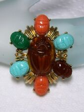 """Egyptian Revival Gold Tone  Molded Resin SCARAB BEETLE Pendant Brooch 2"""" x 1.5"""""""
