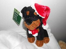 "WAL-MART WALMART 8""  PLUSH PUPPY DOG  TAN BROWN LOVEY black santa christmas"
