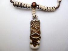 Buffalo Bone White Brown Tiki Pendant Adjustable Cord Necklace #30192-25 (QTY 2)