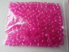 Pony Beads - 8x6mm Plastic Translucent - 200pcs - Fuchsia - NEW - AUS SELLER