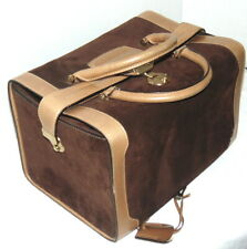 VINTAGE LEATHER & SUEDE GUCCI TRAIN CASE COSMETIC TRAVEL BAG WOMENS