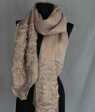 Floral & Sequined Polyester Scarf (Light Brown)