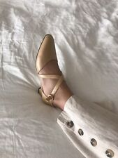 7 1/2 M vintage Champagne/tan leather Liz Claiborne Flats Made In Spain!