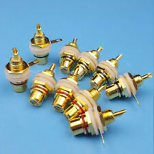 10pcs Brass Amplifier Audio RCA Female Jack Socket Chassis Panel Mount Connector