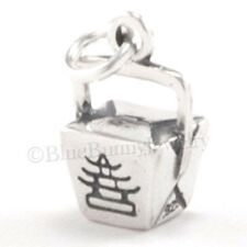 3D TAKE OUT Chinese Food Dinner BOX Asian Charm Pendant 925 STERLING SILVER
