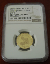 Equatorial Guinea 1992 Gold 7000 Francos NGC PF69UC Lions Mintage - 450