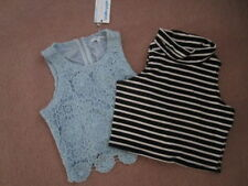 Polyester Striped Petite Sleeveless Tops for Women
