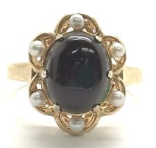 Antique Style Sterling Silver Gold Tone Cabochon Black Onyx Pearl Cocktail Ring