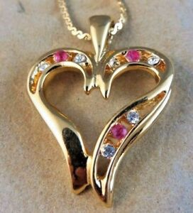 Vintage LIND 14k Yellow Gold Plated Pink Ruby Heart Pendant Chain Necklace #613