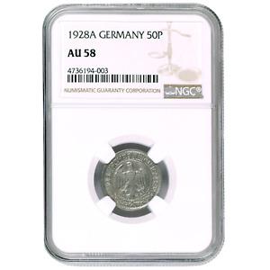 Germany 50 Reichspfennig 1928A (Mintmark Berlin) NGC AU58 KM #49
