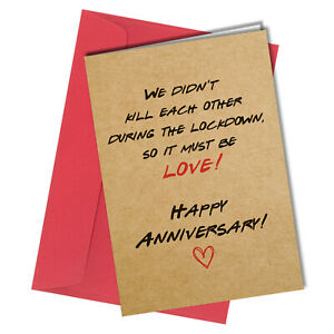 #1371 We Didn't Kill Each Other Lockdown Anniversary Greetings Card Funny Rude