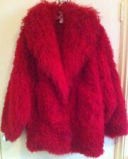 Bright Red Tibetan Curly Lambs Wool blouson coat lined M/L Heart Shawl Collar