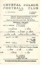 Crystal Palace v Bristol City Reserves programme 13.4.1968