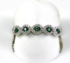 Emerald & Diamond Cluster Criss Cross Weave Ring Band 14K White Gold .36Ct