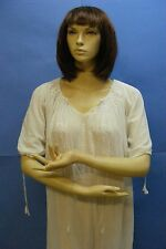 White Silk H Embroidery Romanian Peasant Hippie Top Dress Cheese Cloth Gown Vtg