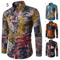 Mens Long Shirts Casual Floral Sleeve Printed Slim Luxury Shirt Funky Fit