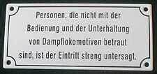 Eisenbahn Schild Personen, die nicht mit der Bedienung... 17,5 x 8 cm Emaille