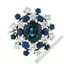 Vintage 18k White Gold 3.15ctw Oval Sapphire Round Diamond Tiered Cluster Ring