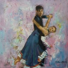 Original Art Oil Painting 12x12 Impressionism Tango Dancers Dancing Competition