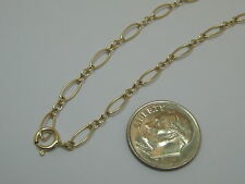 "Short Link Anklet Made In Usa Solid 14K Yellow Gold 10.5"" Long And"