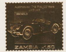 Zambia 5218 - 1987 Classic Cars - JAGUAR in 22k gold foi unmounted mint