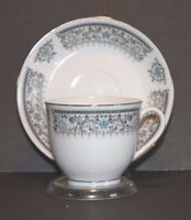 Catalina Island Souvenir Cup and Saucer Blue Gray Silver on White