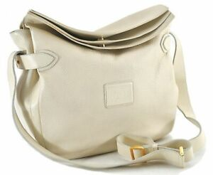 Authentic GUCCI Shoulder Cross Body Bag GG Leather White C9209