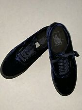Rare Blue Velvet Vans Mens 8 Womens 9.5 Authentic  Black Sole Sneakers Shoes