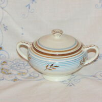 EMPIRE BRAMHALL ANTIQUE SUGAR BOWL & LID BLUE GOLD BROWN ENGLAND OLD DINNERWARE