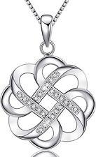 Collar con colgante de cruz de nudo celta irlandés vintage de plata de ley 925,