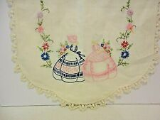 Vtg. Hand Embroidered Table Runner 2 Old Fashioned Ladies Flowers Lace Edge 40""