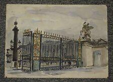 Paris Tuileries Concorde grille, aquarelle de Christian Frain 1947
