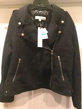 Calvin Klein Jeans Women's Boiled Wool Moto Jacket Large NWT $248