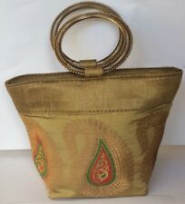 Ladies Indian Purse - Gold Design Bag with Bangle Handles