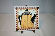 """Mary Engelbreit 8"""" Trivet or Wall Hanging with Yellow & Black Teapot #1"""