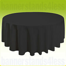 "132"" Inch Round Table Cover Tablecloth Wedding Banquet Event - BLACK"